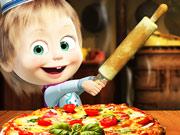 بنات ماشا والدب طبخ البيتزا